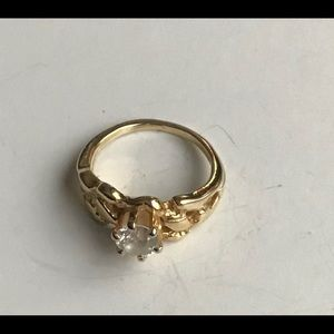 Women Vintage Ring, Thick Gold Band Rhinestone